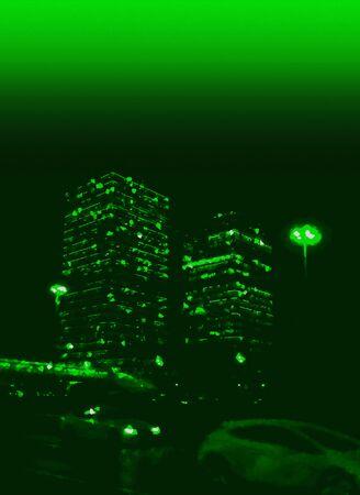 interlaced: Vertical greenish interlaced night skyscraper abstract backdrop
