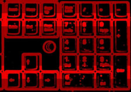 terminator: Horizontal red blurred interlaced keyboard background Stock Photo