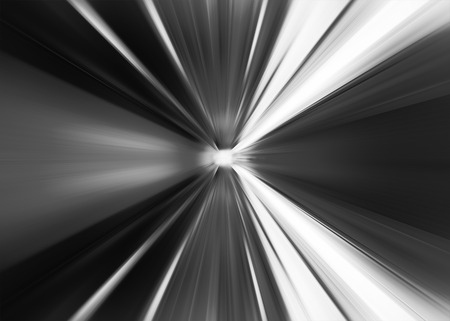 Black and white abstract teleport tunnel motion blur background Stock Photo