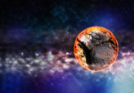 Horizontal right aligned cracked planet in deep space background Stock Photo