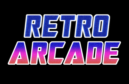 arcade: Horizontal retro arcade text illustration background