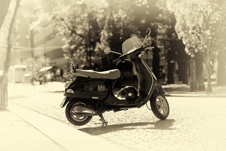 moped: Sepia moped bike on Trondheim streets background hd