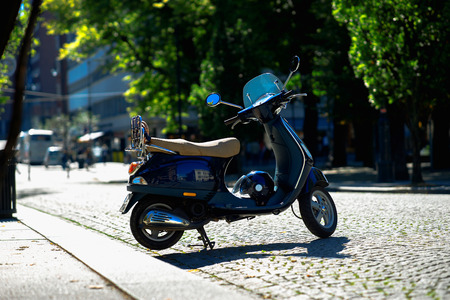Moped bike on Trondheim streets background hd