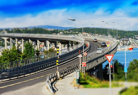 lacet: Tromso lacet transport bridge tilt-shifted background hd Stock Photo