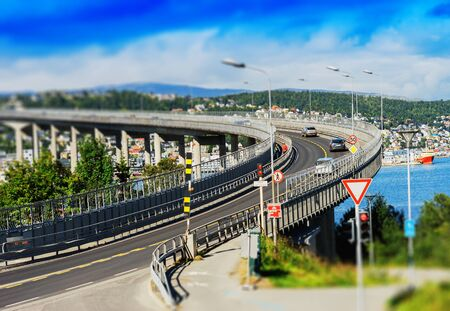 Tromso lacet transport bridge tilt-shifted background hd Stock Photo
