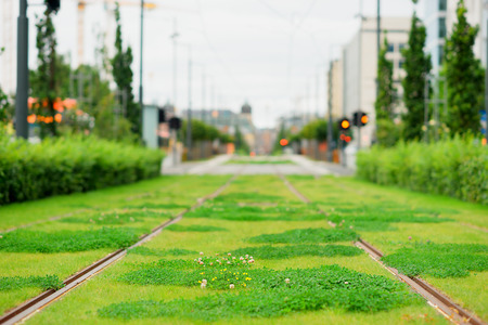 Oslo railway with green grass background hd