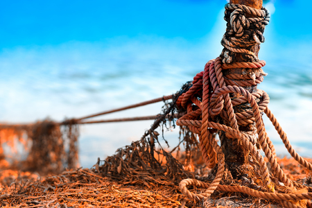 algal: Tied up ship rope on Norway beach hd