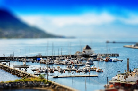 Micro toy Tromso city port background hd Stock Photo