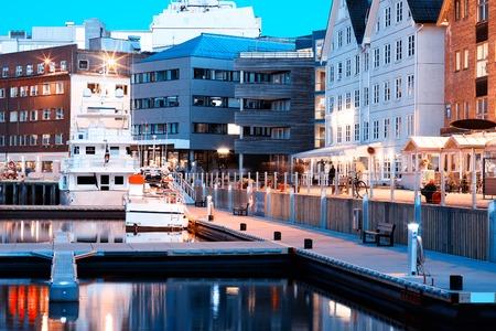 oslo: Night Tromso quay postcard background hd