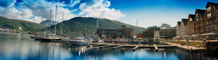 Mega wide panorama of  Tromso city background hd
