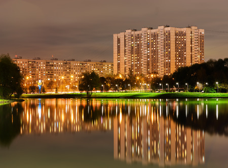 Altufievo district in Moscow night reflections background hd Stock Photo