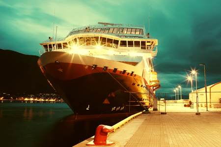 oslo: Dramatic Norway ship postcard background hd Stock Photo