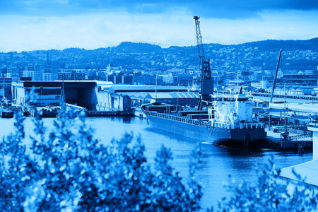 oslo: Norway blue industrial ship postcard background hd