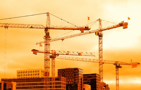 Industrial cranes building Oslo sunset background hd