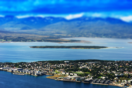 Tilt-shifted micro toy Tromso city background hd