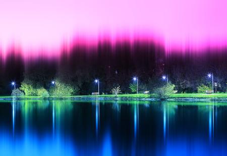 Dramatic night park illumination reflections background hd Stock Photo