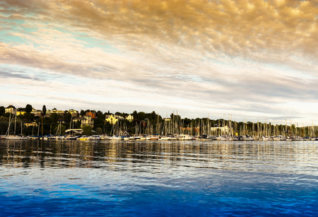 oslo: Oslo yacht club orange sunset background hd