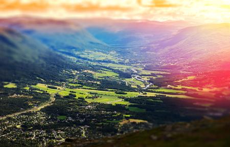 oslo: Oppdal valley landscape bokeh background hd Stock Photo