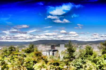 View on Oslo from the hill city illustration background hd