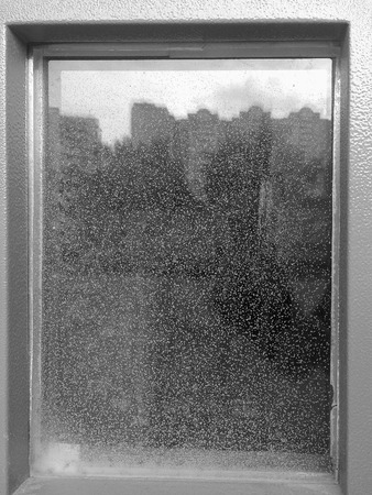 waterdrops: Black and white window with reflection and waterdrops background hd