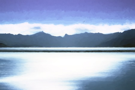 Norway ocean and mountains on horizon painting background hd