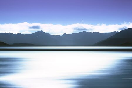 Norway mountains with bird and abstract ocean surface background hd