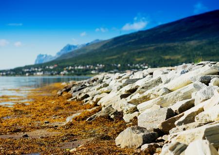 Diagonal stony beach landscape backgroundhd