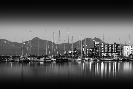 Night at Tromso yacht club city background hd Stock Photo