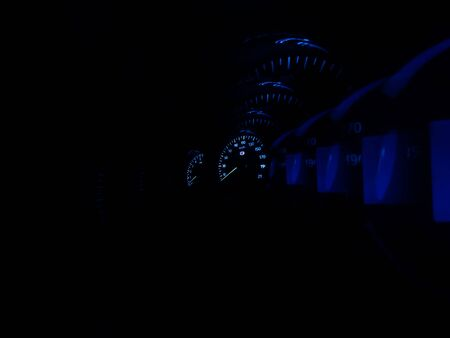 Inside sport car blue speedometer in motion backdrop hd