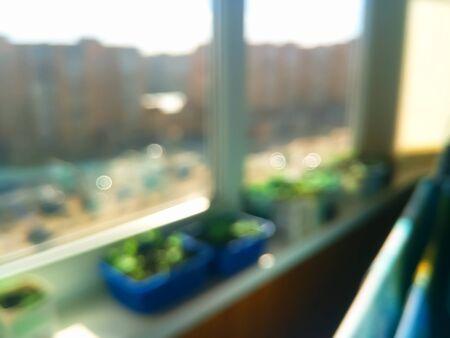 Sunny day balcony bokeh background Stock Photo