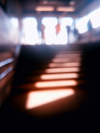 diagonal: Diagonal metro station stairs bokeh background