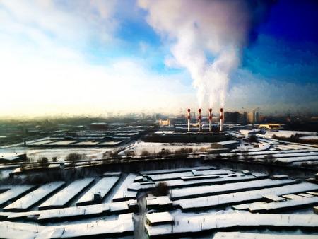 fallout: Dark industrial landscape backdrop Stock Photo