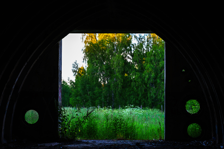 View on forest from military vault bokeh background Stock Photo