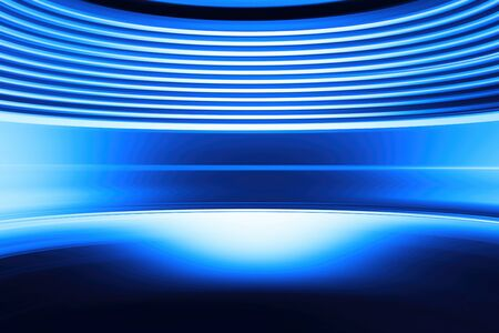 Curved blue abstract virtual reality background