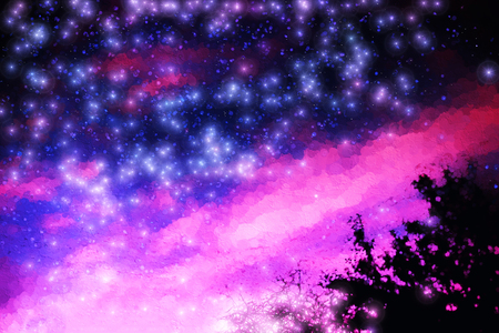leak: Pink and purple night stars illustration background