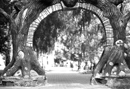 Black and white park gate background
