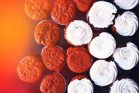 Fresh cupcakes from above object background hd
