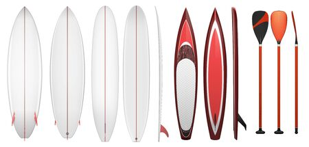 surfboard fin: Set of equipment for surfing isolated on white. Blank surfboards. Paddle for sup surfing.