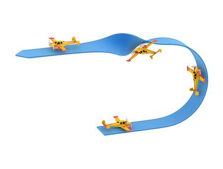 aerobatics: Illustration of aerobatics half loop with yellow airplane model over blue arrow on white background