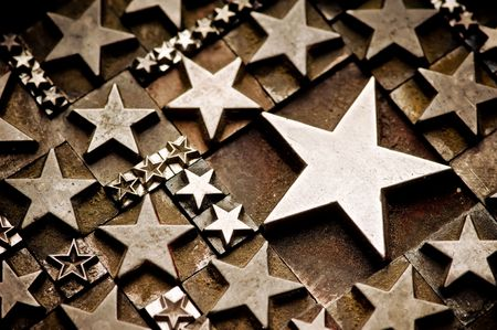 A random arrangement of letterpress stars with narrow depth of field. Part of a series of letterpress backgrounds photo