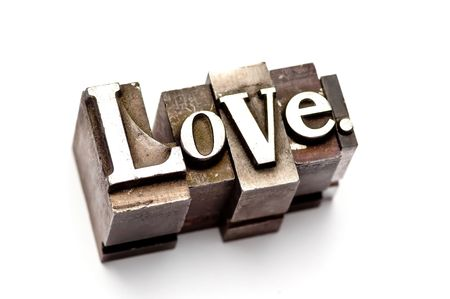 The word Love photographed using vintage letterpress type Stock Photo - 3593500