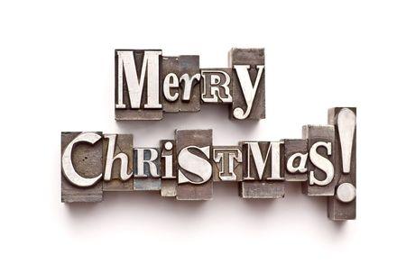 letterpress letters: The phrase Merry Christmas in letterpress type