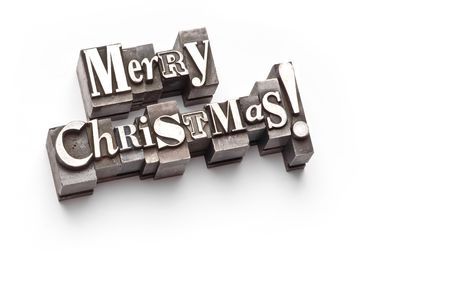 The phrase Merry Christmas in letterpress type Stock Photo - 3593489
