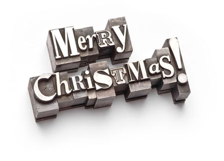 The phrase Merry Christmas in letterpress type Stock Photo - 3593484