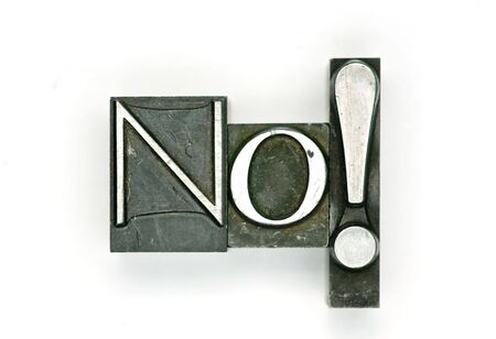 The word No photographed with letterpress type Stock Photo