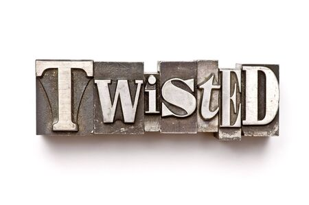 The word Twisted done in letterpress type Banco de Imagens - 3593507