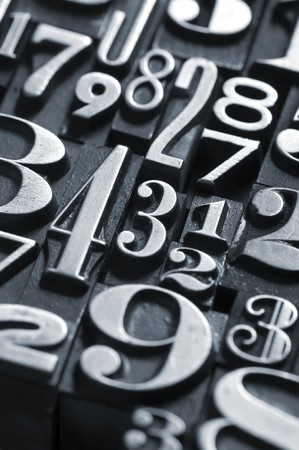A random group of numbers photographed using vintage type.