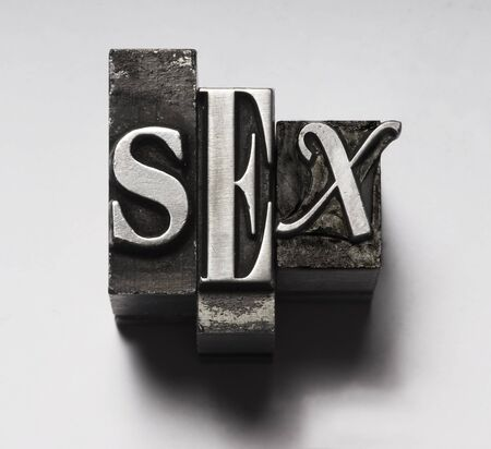 Sex in Letterpress Type Stock Photo