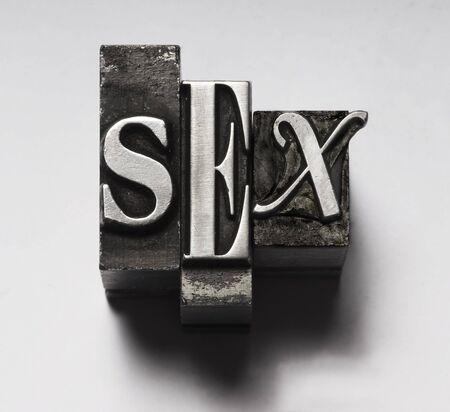Sex in Letterpress Type Stock Photo