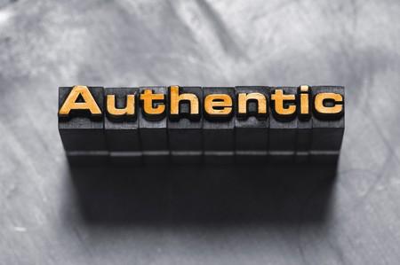 letterpress  type: The word Authentic in letterpress type